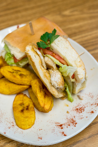 Spiced Tilapia Sandwich and Fried Plantains