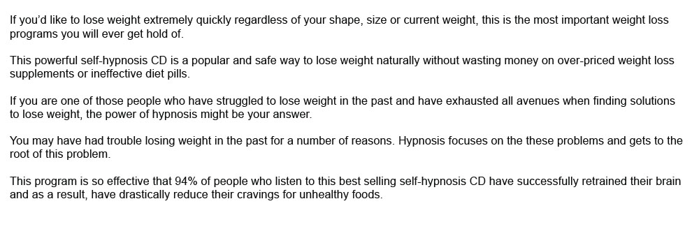 weight loss hypnotherapy results of super