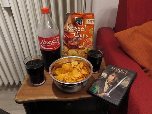 Heimkino-Abend mit Kessel Chips (Sorte Honey BBQ) und Coca Cola
