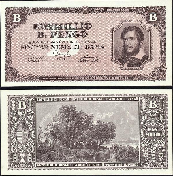 1 000 000 B.-Pengő Maďarsko 1946, Pick 134