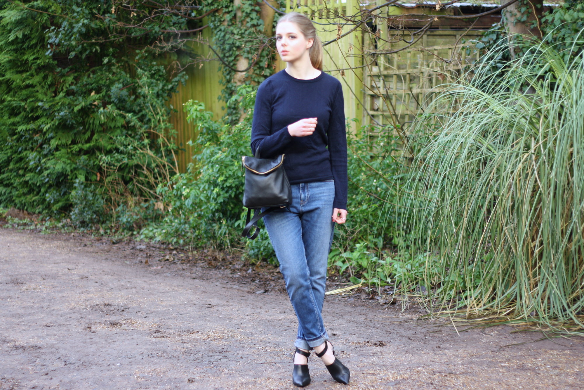 Whistles navy merino wool jumper