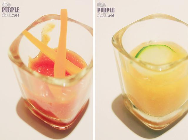 Carrot-Papaya Shots and Cucumber-Melon Shots