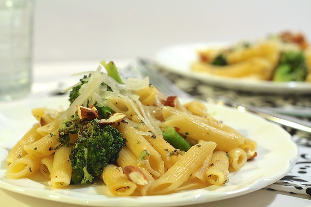 Pasta with Roasted Broccoli, Garlic and Almonds