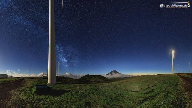 Starry night above highland of Pico island