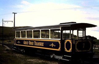 92-125  Great Orme Tramway Car No. 7 at the upper side of Half Way Station