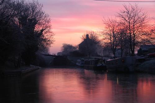 Frozen dawn at Semington lock
