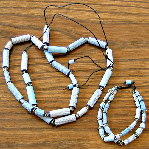 Security Envelope Paper Beads - Necklace and Bracelet