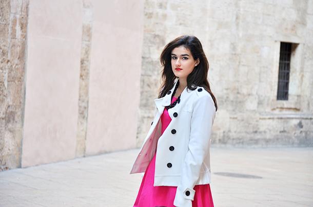 zara booties, something fashion modcloth valencia spain fashionblogger style, pink dress beloved white jacket blazer