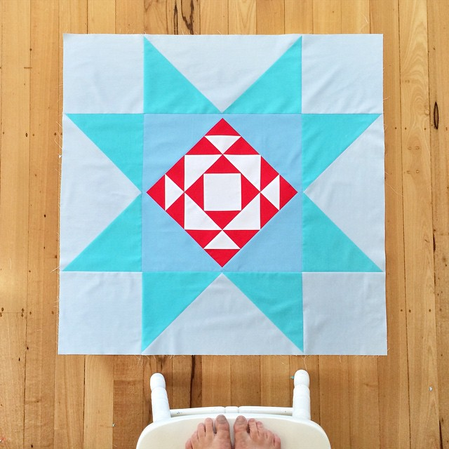 It's not every day you have to stand on a chair to photograph one quilt block, but now I'm in the #modernbuildingblocks club! The pieces were too large for me to use the blues I wanted so it's not quite like I wanted but I can live with it. #modabuildingb
