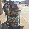 Posing with trash cans at the #SouthAfrica #Swaziland  border. #ETSA16