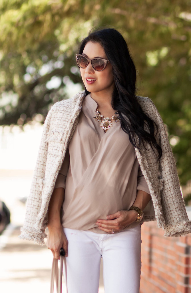 cute & little blog | petite fashion | maternity baby bump pregnant | sheinside apricot tweed blazer, nude surplice top, white skinny jeans, kate spade licorice | neutral fall outfit