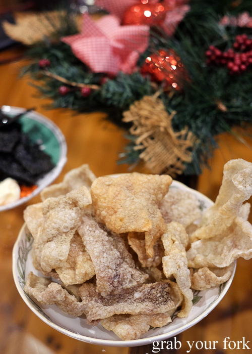 Homemade pork crackling at the Stomachs Eleven Christmas dinner 2014