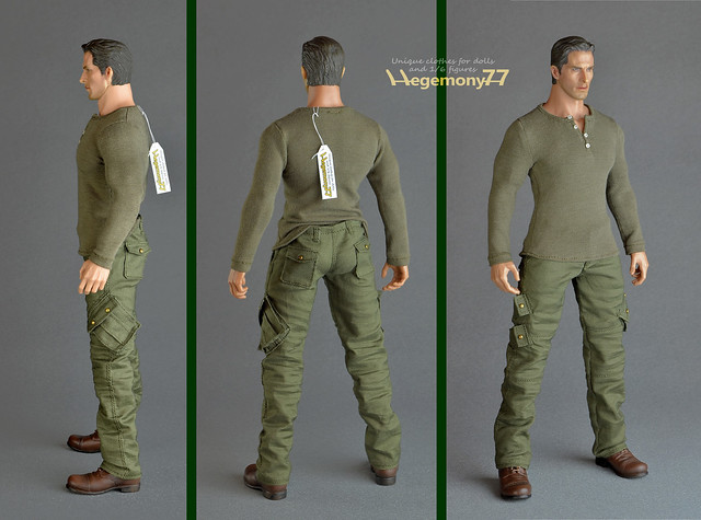Sixth scale XXL size clothes - cargo pants with real pockets and henley shirt with 4 tiny buttons on Hot Toys TTM 20 figure