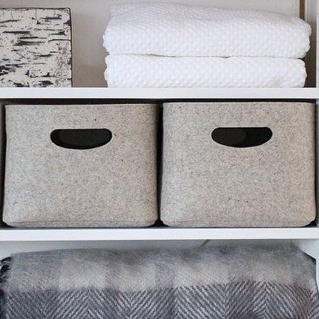 Custom-made Felt Storage Basket / Storage Box for a Shelf is now available on Etsy.