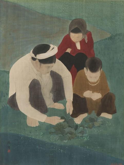 Lê Phổ (1907-2001) - Hái cây thuốc - La cueillette des simples. Couleurs sur soie, 66,5 x 50 cm, 1932.