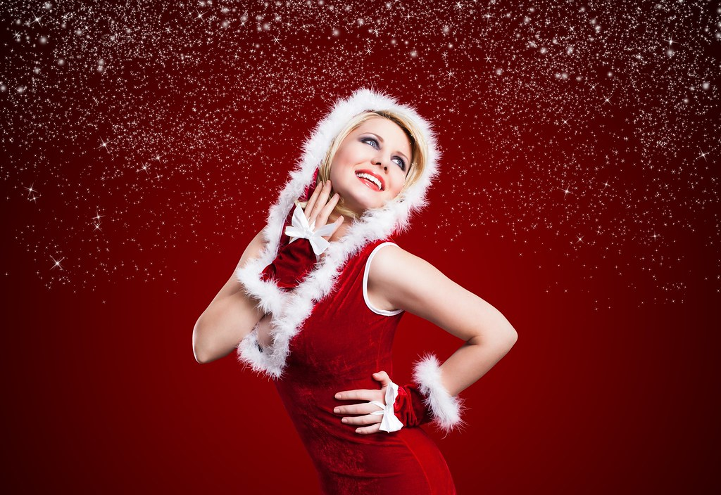Beautiful Girl Desktop Red Christmas Dress Hd Wallpaper