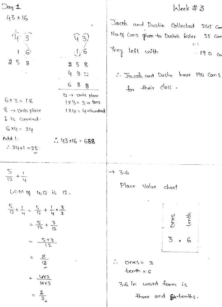 Common Core Math 4 Today Grade 5 WorkBook Solutions