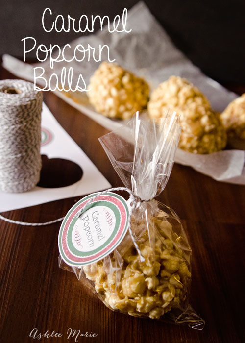 caramel popcorn balls make great gifts for your family, friends and neighbors, printables included