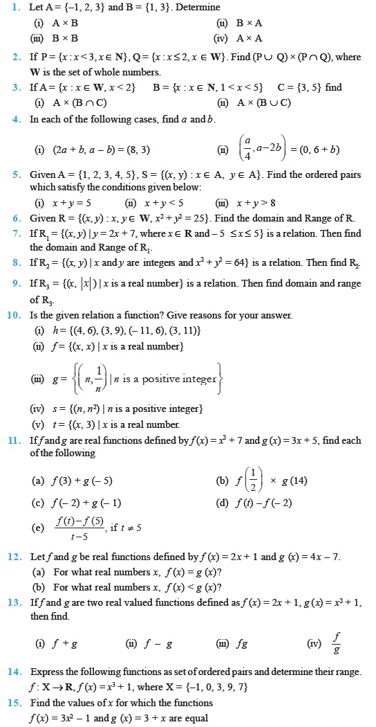 Class 11 Important Questions for Maths – Relations and