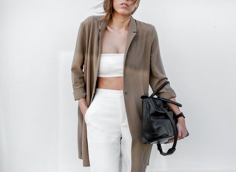 modern legacy fashion blog Australia street style ASOS camel boyfriend blazer Josh Goot white bandeau top culottes slide sandals inspo (3 of 10)