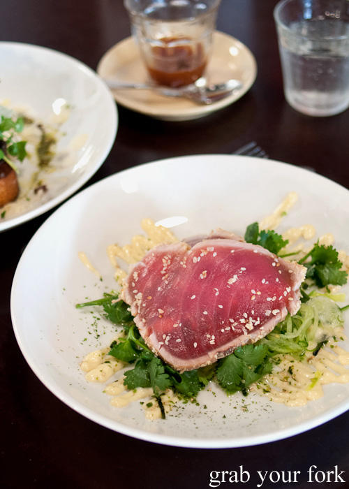 Rare sesame crust yellow fin tuna at Brewtown Newtown