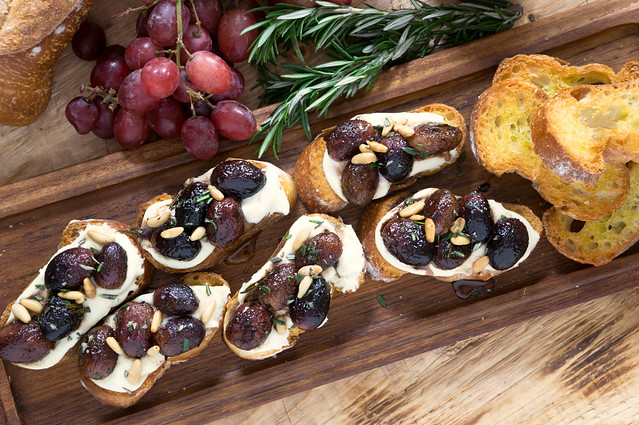Roasted Grape Crostini with Whipped Goat Cheese