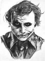 joker, sketch, figure drawing, drawing, cartoon, monochrome, illustration, black-and-white,