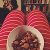 Striped jammies + chex mix from the oven. #afewofmyfavoritethings