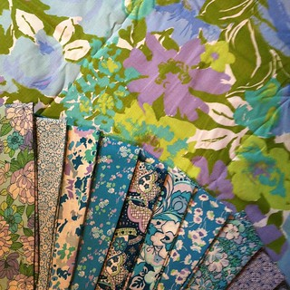 Look how much these Libertys love this vintage fabric! Maybe strippy flying geese? #whenoldmeetsnew #vintagefabric #libertyfabric