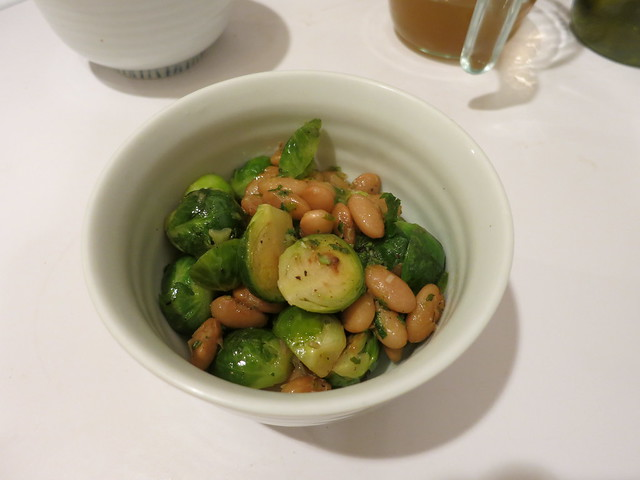 Brussels sprouts with Mayocoba beans and chermoula
