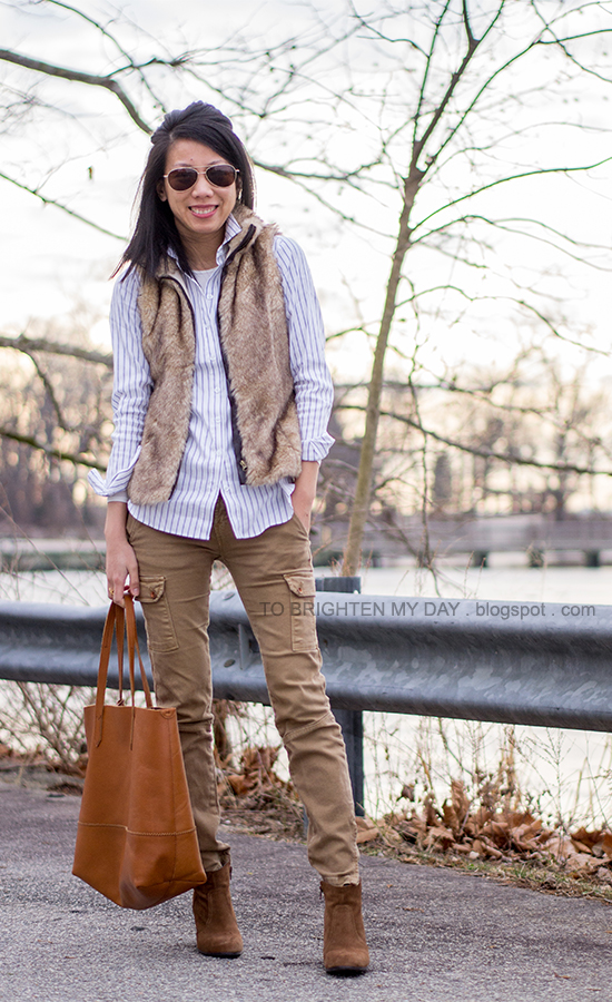 faux fur vest, striped button up shirt, cargo pants, brown suede ankle boots