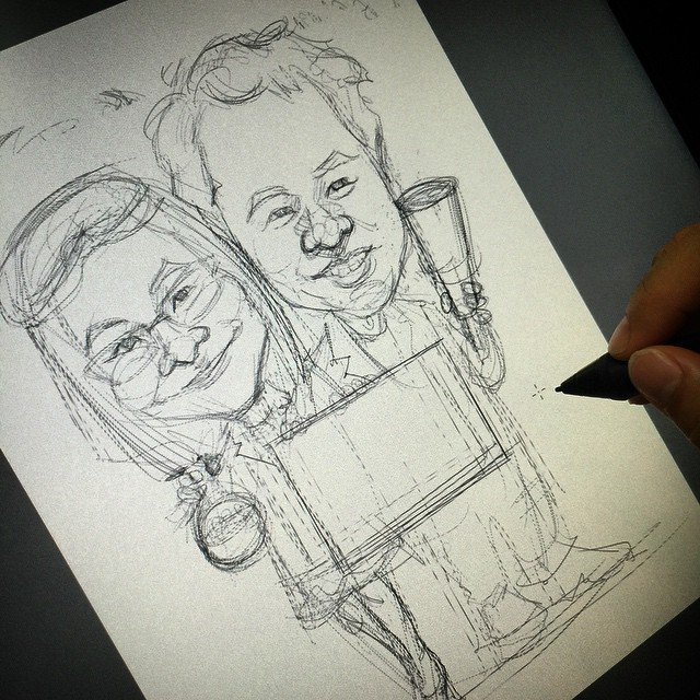 digital couple caricatures of physicist and chemist sketch