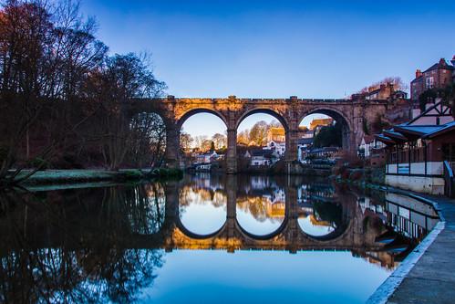 bridge blue england reflection river mirror yorkshire weir rivernidd