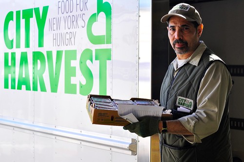 City Harvest rescues excess food using a fleet of 19 refrigerated trucks, three cargo bikes, over 150 full-time employees, and more than 8,000 volunteers. In fiscal year 2015, they will collect 50 million pounds of food, greater than the total amount of food collected in its first 14 years combined. Seventy-five percent of this total will be comprised of nutrient dense foods, including fresh produce, meat and dairy. Photo courtesy of City Harvest.