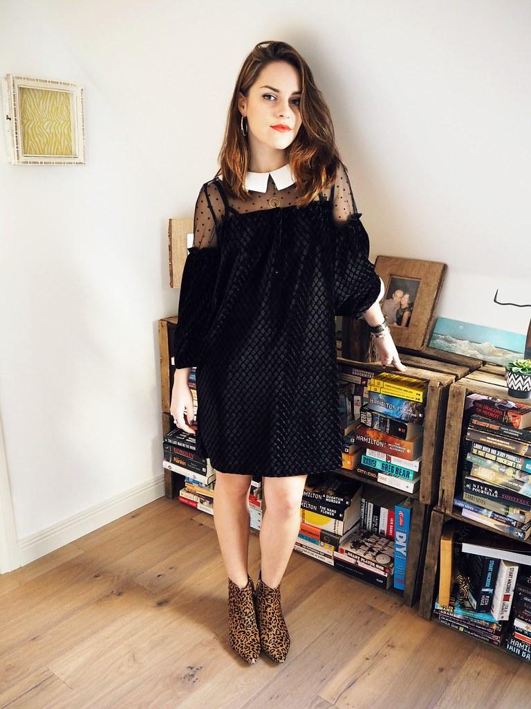 Dahlia velvet peter pan collar dress