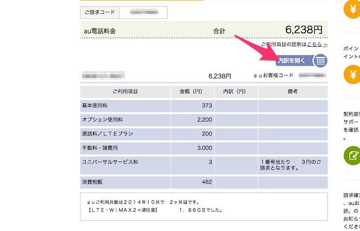 初めての請求金額は6238円