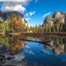Yosemite Valley reflected in the Merced by Darvin Atkeson