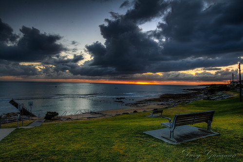cloud seascape reflection water sunrise benches rockpool cronulla