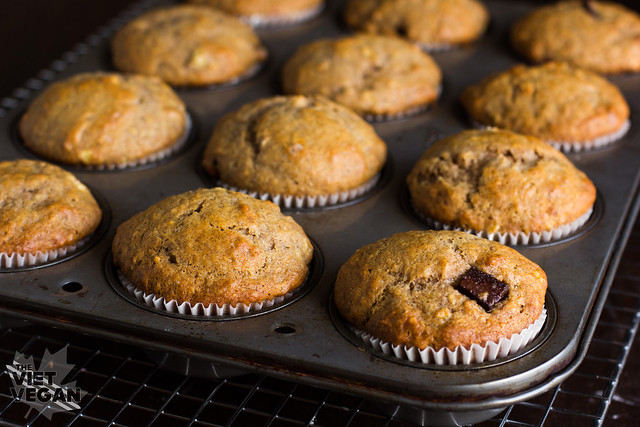 Vegan Banana Chocolate Chunk Muffins