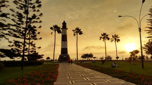 Sunset over Parque El Faro, MIraflores, Lima, Peru