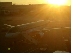The Sun rises on Aer Lingus A 320 at Birmingham International.