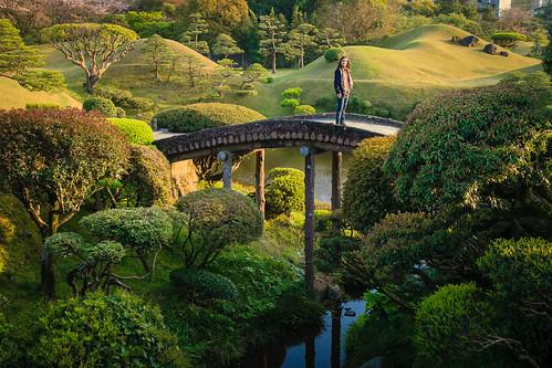 bridge sunset japan garden landscape spring arch magic kumamoto suizenji 2013
