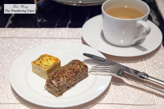 A mini quiche and walnut pastry