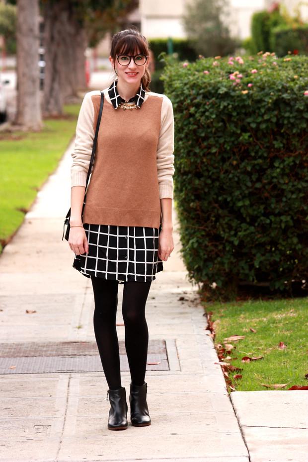 J.Crew Zip Sweater, Grid Print Dress