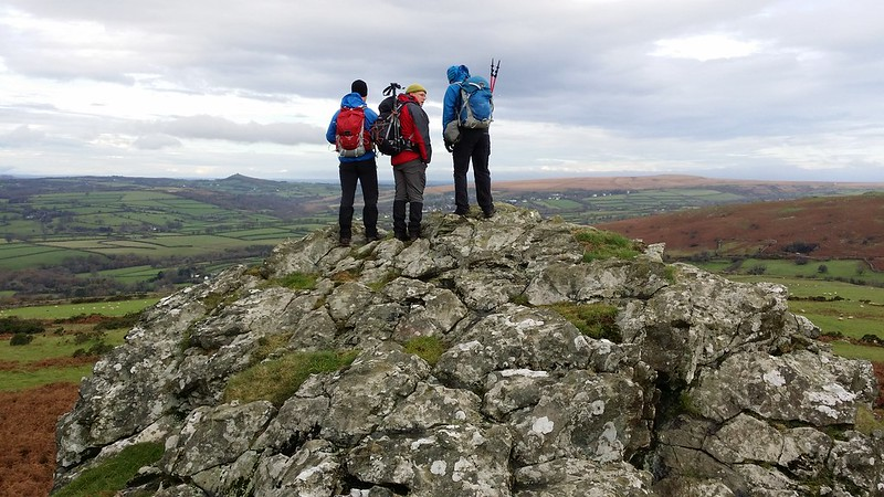 .@FlintyRich @paulgbuck and Jim atop Sharp Tor (Peter Tavy) #dartmoor #sh