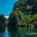 Azure green waters in the beautiful lagoons around El Nido, Palawan, Philippines