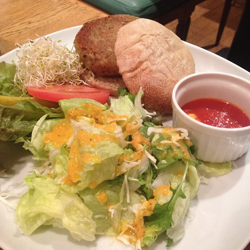 Vegan burger at Green Cafe in Osaka