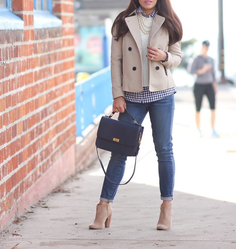 Cropped Cable Sweater, Petite Gingham Shirt, Paige Denim Verdugo Cropped Jeans and Cropped Trench Coat - Stylish Petite-2