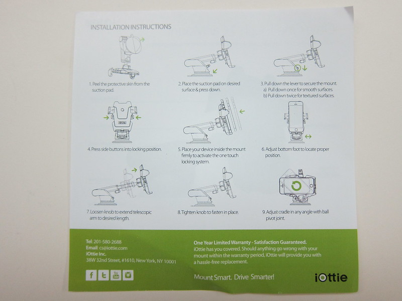iOttie Easy One Touch 2 Car Mount Holder - Instructions