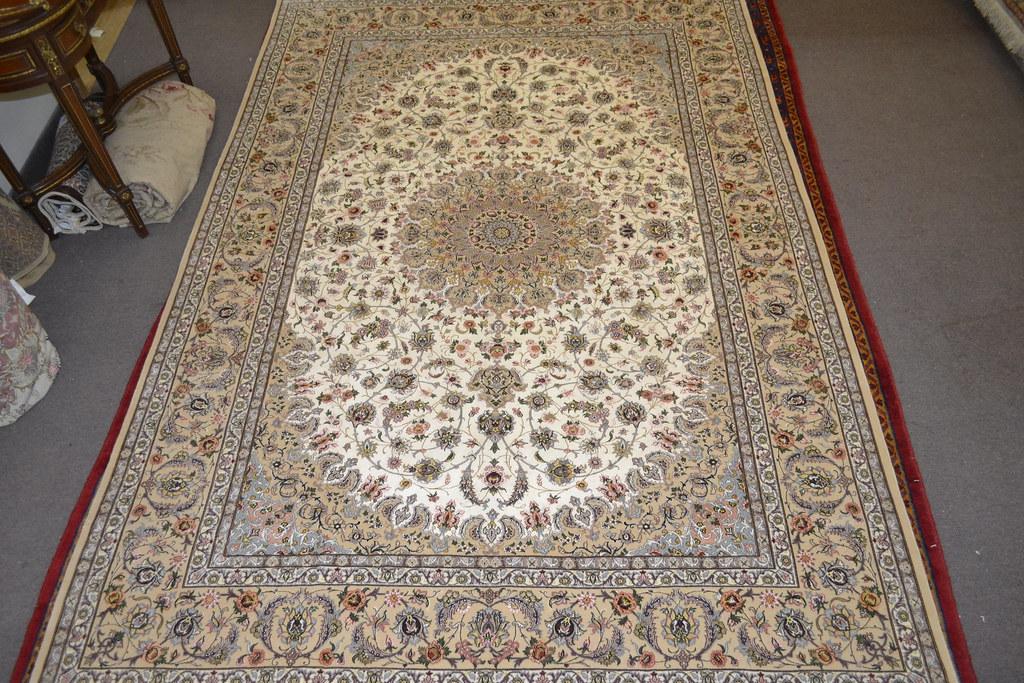 Pair Isfahan Esfahan Kaf Abrisham 7x10 persian Fine Area Rug (1)